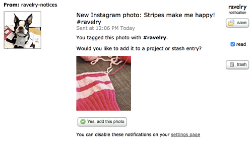 Unraveled » Blog Archive » Tip: use #ravelry to add photos