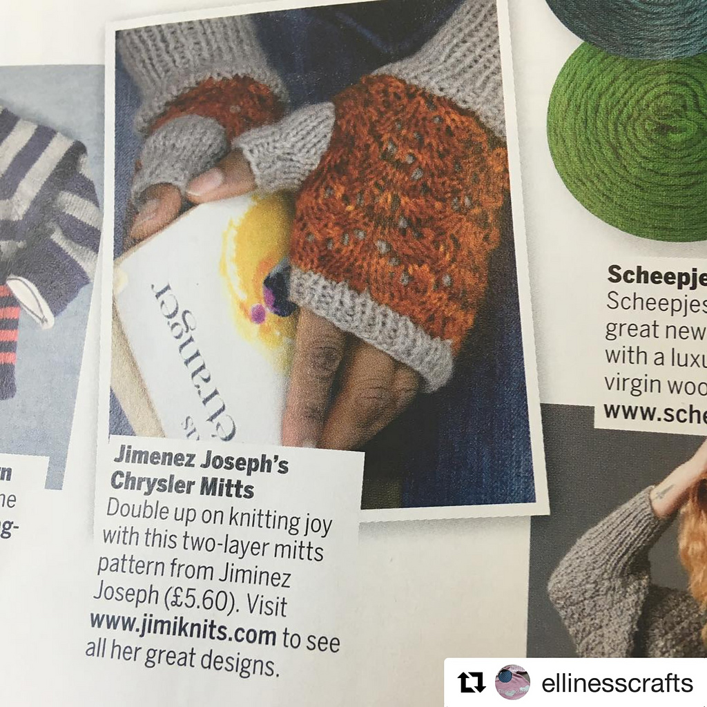 Chrysler Fingerless Mitts in Simply Knitting Magazine