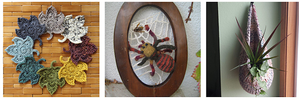 crocheted leaves in autumnal colors, a knit spider art hanging, and a knitted oblong plant hanger with plants