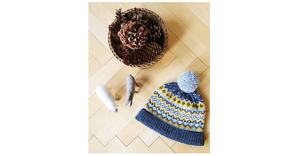 knit colorwork hat with pom pom
